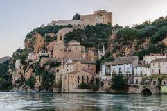 Sunset view of Miravet Castle in Spain royalty free stock image