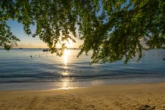 Sunset View at Mont Choisy Beach Mauritius Royalty Free Stock Photography