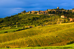 Sunset view of Monticchiello Stock Images