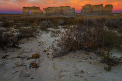 Sunset View of Monument Rocks in Kansas Royalty Free Stock Images