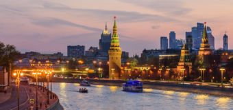 Sunset view of Moscow Kremlin. Moscow, Russia - April 29, 2018: Sunset view of Moscow Kremlin and Moscow river. Architecture and landmarks of Moscow. Wide stock images