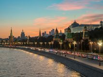 Sunset view of Moscow Kremlin. And Moscow River royalty free stock photos