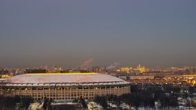 Sunset view of the Moscow and at the Luzhniki Stadium. 4k, Sunset. Slider. view of the Luzhniki Stadium. The main Russia World Cup stadium Cup 2018 stock video footage