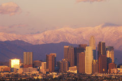 Sunset view of Mount Baldy and Los Angeles from Baldwin Hills the day after a winter storm, Los Angeles, California Stock Images