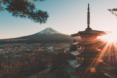 Sunset with the view of Mount Fuji stock image