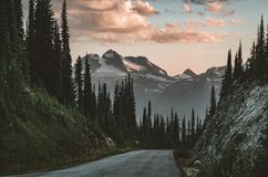 Sunset View from Mount Revelstoke across forest with blue sky and clouds. British Columbia Canada. stock image