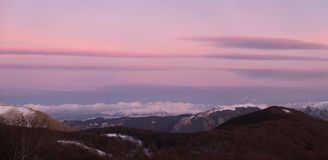 Sunset view from mount Terminillo royalty free stock photography
