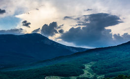 Sunset view on mountain in Crimea Stock Photography