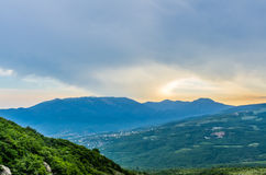 Sunset view on mountain in Crimea Stock Photo