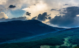 Sunset view on mountain in Crimea Royalty Free Stock Image