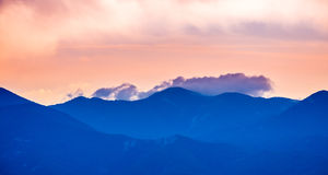 Sunset view on mountain in Crimea Royalty Free Stock Photography