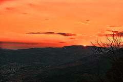 Sunset. View from a mountain in Greece royalty free stock photo