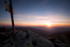 Sunset view from the mountain peak Bucura Royalty Free Stock Images