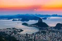 Sunset view of mountain Sugar Loaf and Botafogo in Rio de Janeiro Stock Photos