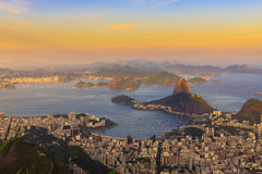 Sunset view of mountain Sugar Loaf and Botafogo in Rio de Janeiro, Royalty Free Stock Photo