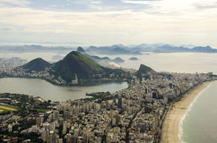 Sunset view of mountain Sugar Loaf and Botafogo in Rio de Janeiro. Brazil Royalty Free Stock Photography