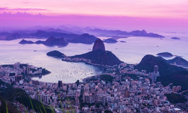 Sunset view of the mountain Sugar Loaf and Guanabara bay in Rio de Janeiro Royalty Free Stock Images