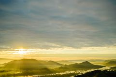 Sunset view from mountaintop. And river Royalty Free Stock Photography