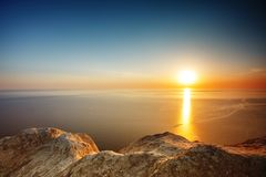 Sunset view from mountaintop. Tourism, travel, sea background. Sunset view from mountaintop. Tourism, travel sea background Royalty Free Stock Photo