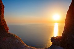 Sunset view from mountaintop. Tourism, travel, sea background. Sunset view from mountaintop. Tourism, travel sea background Royalty Free Stock Images