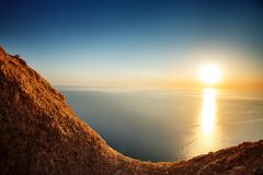 Sunset view from mountaintop. Tourism, travel, sea background. Sunset view from mountaintop. Tourism, travel sea background Stock Photo