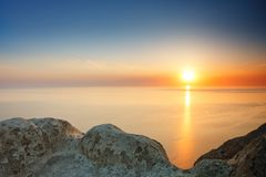 Sunset view from mountaintop. Tourism, travel, sea background. Sunset view from mountaintop. Tourism, travel sea background Stock Photos