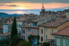 Sunset View of Nyons village, Provence, France. royalty free stock image