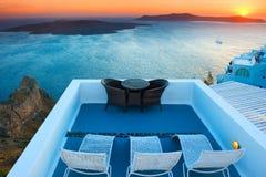 Sunset View Of Nea Kameni Island In Santorini, Greece