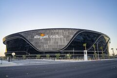 Free Sunset View Of The Finished Allegiant Stadium Stock Image - 190917031