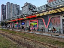 Free Sunset View Of Tram Station In Wuhan City Stock Photos - 157664073