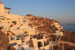 Sunset view in Oia, Santorini, Greece Royalty Free Stock Images