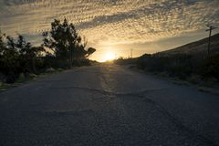 Sunset Over an Open Road or Race Track Royalty Free Stock Photos