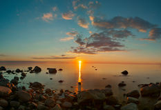 Sunset View Over Baltic Sea Stock Photo