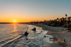 Sunset view over a beach from Inspiration Point, in Corona del Mar, Newport Beach, California.  stock image