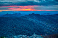 Sunset view over blue ridge Stock Photos