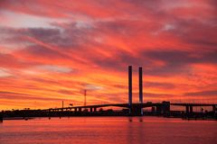 Sunset View over Bolte Bridge Melbourne. Pastel colors in the sky as the sun sets over Bolte Bridge in Melbourne Australia Royalty Free Stock Image