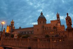 Sunset view over the Cathedral in Palermo. The Duomo Cathedral of Palermo, Sicily, is an impressive 12th-century cathedral encompassing a wide variety of Royalty Free Stock Photography