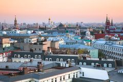 Sunset View Over Center Of Moscow, Russia Royalty Free Stock Photos
