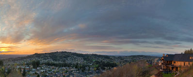Sunset View Over Happy Valley Oregon Panorama Stock Photography