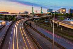 Sunset View over Interstate 5 in Portland Oregon Royalty Free Stock Image