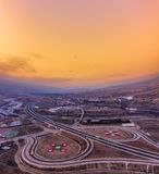 Sunset view over the motorway in Europe... Nice sunset view over the motorway in Bulgaria. The image is taken with my drone in mid December royalty free stock photos