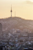Sunset view over namsan tower Stock Photos