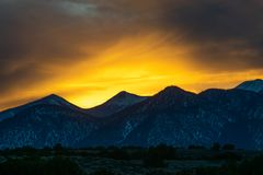 Sunset view over the San Francisco peaks in Northern Arizona 2 royalty free stock photo