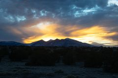 Sunset view over the San Francisco peaks in Northern Arizona 3 royalty free stock photo