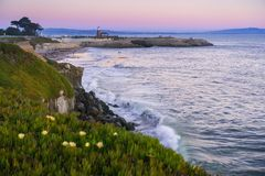 Sunset view of the Pacific Ocean rugged coastline, Santa Cruz, California. Santa Cruz surfing museum in the background; iceplant flowers growing on the bluffs stock images