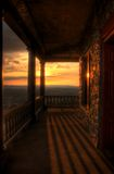 Sunset View From Pagoda Porch. View of the sunset from the porch at the Pagoda, Mt. Penn, Reading, Pennsylvania stock images