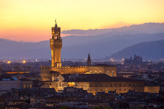 Sunset view of the Palazzo della Signoria tower, Florence Royalty Free Stock Photos