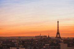 Sunset view of Paris Stock Images