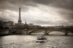 Sunset. View of Paris and Sena river Royalty Free Stock Photos