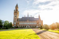 Peace palace in Haag. Sunset view on the Peace palace the seat of international law in Haag city, Netherlands Stock Image